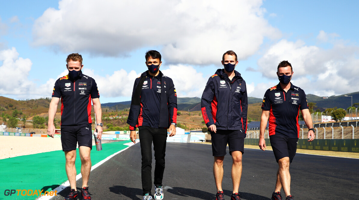 PORTIMAO, PORTUGAL - OCTOBER 22: Alexander Albon of Thailand and Red Bull Racing walks the track with his team during previews ahead of the F1 Grand Prix of Portugal at Autodromo Internacional do Algarve on October 22, 2020 in Portimao, Portugal. (Photo by Mark Thompson/Getty Images) // Getty Images / Red Bull Content Pool  // SI202010220230 // Usage for editorial use only //  F1 Grand Prix of Portugal - Previews     SI202010220230