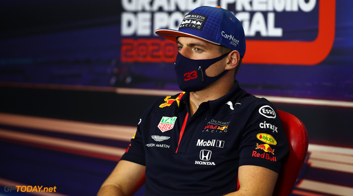 PORTIMAO, PORTUGAL - OCTOBER 22: Max Verstappen of Netherlands and Red Bull Racing talks in the Drivers Press Conference during previews ahead of the F1 Grand Prix of Portugal at Autodromo Internacional do Algarve on October 22, 2020 in Portimao, Portugal. (Photo by Joe Portlock/Getty Images) // Getty Images / Red Bull Content Pool  // SI202010220348 // Usage for editorial use only //  F1 Grand Prix of Portugal - Previews     SI202010220348
