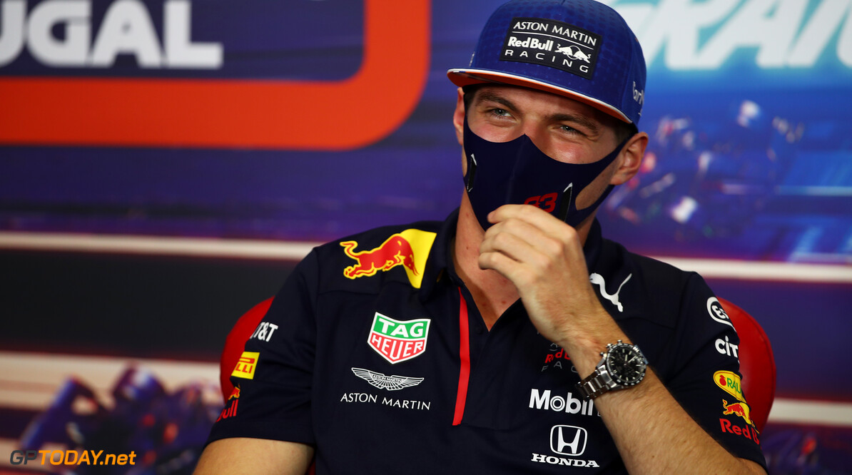 PORTIMAO, PORTUGAL - OCTOBER 22: Max Verstappen of Netherlands and Red Bull Racing talks in the Drivers Press Conference during previews ahead of the F1 Grand Prix of Portugal at Autodromo Internacional do Algarve on October 22, 2020 in Portimao, Portugal. (Photo by Joe Portlock/Getty Images) // Getty Images / Red Bull Content Pool  // SI202010220333 // Usage for editorial use only //  F1 Grand Prix of Portugal - Previews     SI202010220333
