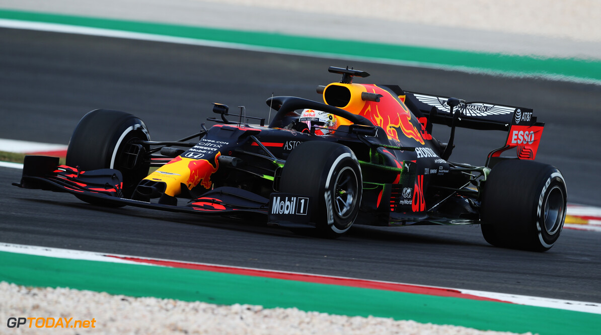 PORTIMAO, PORTUGAL - OCTOBER 23: Max Verstappen of the Netherlands driving the (33) Aston Martin Red Bull Racing RB16 on track during practice ahead of the F1 Grand Prix of Portugal at Autodromo Internacional do Algarve on October 23, 2020 in Portimao, Portugal. (Photo by Jose Sena Goulao - Pool/Getty Images) // Getty Images / Red Bull Content Pool  // SI202010230079 // Usage for editorial use only //  F1 Grand Prix of Portugal - Practice     SI202010230079
