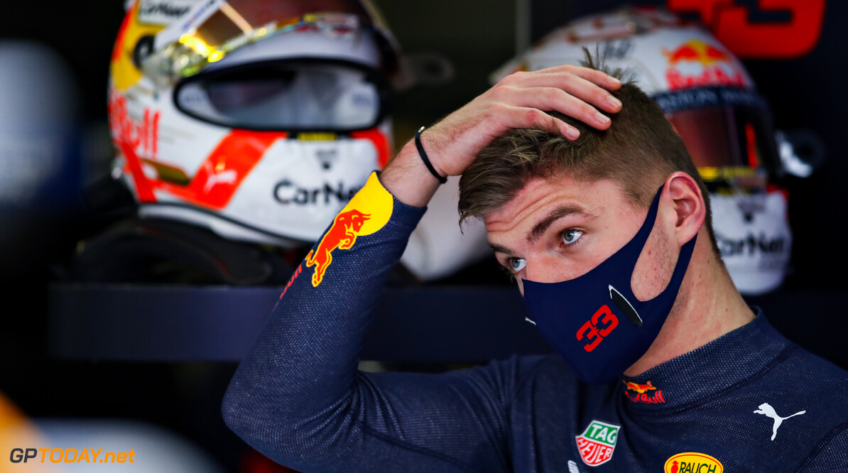 PORTIMAO, PORTUGAL - OCTOBER 23: Max Verstappen of Netherlands and Red Bull Racing looks on in the garage during practice ahead of the F1 Grand Prix of Portugal at Autodromo Internacional do Algarve on October 23, 2020 in Portimao, Portugal. (Photo by Mark Thompson/Getty Images) // Getty Images / Red Bull Content Pool  // SI202010230105 // Usage for editorial use only //  F1 Grand Prix of Portugal - Practice     SI202010230105