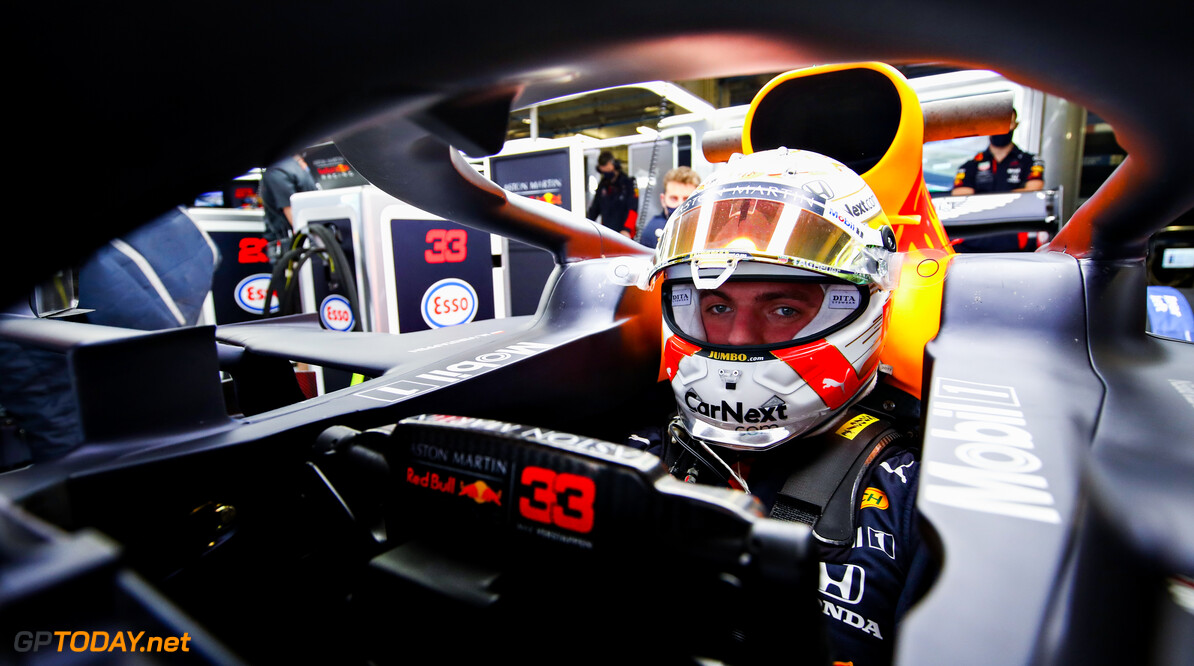 PORTIMAO, PORTUGAL - OCTOBER 23: Max Verstappen of Netherlands and Red Bull Racing prepares to drive in the garage during practice ahead of the F1 Grand Prix of Portugal at Autodromo Internacional do Algarve on October 23, 2020 in Portimao, Portugal. (Photo by Mark Thompson/Getty Images) // Getty Images / Red Bull Content Pool  // SI202010230221 // Usage for editorial use only //  F1 Grand Prix of Portugal - Practice     SI202010230221