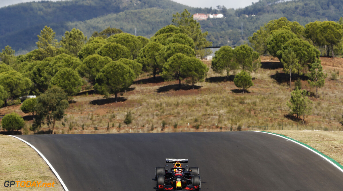 PORTIMAO, PORTUGAL - OCTOBER 23: Max Verstappen of the Netherlands driving the (33) Aston Martin Red Bull Racing RB16 on track during practice ahead of the F1 Grand Prix of Portugal at Autodromo Internacional do Algarve on October 23, 2020 in Portimao, Portugal. (Photo by Armando Franca - Pool/Getty Images) // Getty Images / Red Bull Content Pool  // SI202010230172 // Usage for editorial use only //  F1 Grand Prix of Portugal - Practice     SI202010230172