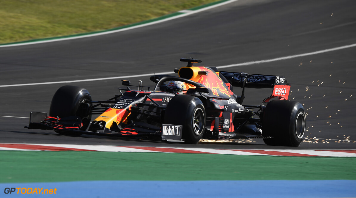 PORTIMAO, PORTUGAL - OCTOBER 23: Max Verstappen of the Netherlands driving the (33) Aston Martin Red Bull Racing RB16 on track during practice ahead of the F1 Grand Prix of Portugal at Autodromo Internacional do Algarve on October 23, 2020 in Portimao, Portugal. (Photo by Jorge Guerrero - Pool/Getty Images) // Getty Images / Red Bull Content Pool  // SI202010230338 // Usage for editorial use only //  F1 Grand Prix of Portugal - Practice     SI202010230338