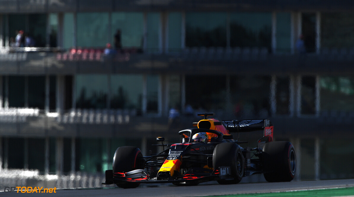 PORTIMAO, PORTUGAL - OCTOBER 23: Max Verstappen of the Netherlands driving the (33) Aston Martin Red Bull Racing RB16 on track during practice ahead of the F1 Grand Prix of Portugal at Autodromo Internacional do Algarve on October 23, 2020 in Portimao, Portugal. (Photo by Rudy Carezzevoli/Getty Images) // Getty Images / Red Bull Content Pool  // SI202010230308 // Usage for editorial use only //  F1 Grand Prix of Portugal - Practice     SI202010230308