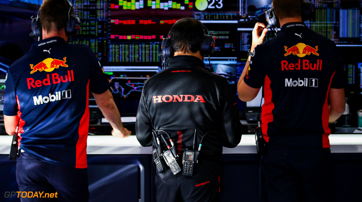 PORTIMAO, PORTUGAL - OCTOBER 23: Toyoharu Tanabe of Honda looks on in the Red Bull Racing gara during practice ahead of the F1 Grand Prix of Portugal at Autodromo Internacional do Algarve on October 23, 2020 in Portimao, Portugal. (Photo by Mark Thompson/Getty Images) // Getty Images / Red Bull Content Pool  // SI202010230331 // Usage for editorial use only //  F1 Grand Prix of Portugal - Practice     SI202010230331