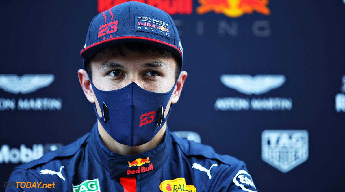 PORTIMAO, PORTUGAL - OCTOBER 23: Alexander Albon of Thailand and Red Bull Racing talks to the media after practice ahead of the F1 Grand Prix of Portugal at Autodromo Internacional do Algarve on October 23, 2020 in Portimao, Portugal. (Photo by Mark Thompson/Getty Images) // Getty Images / Red Bull Content Pool  // SI202010230340 // Usage for editorial use only //  F1 Grand Prix of Portugal - Practice     SI202010230340