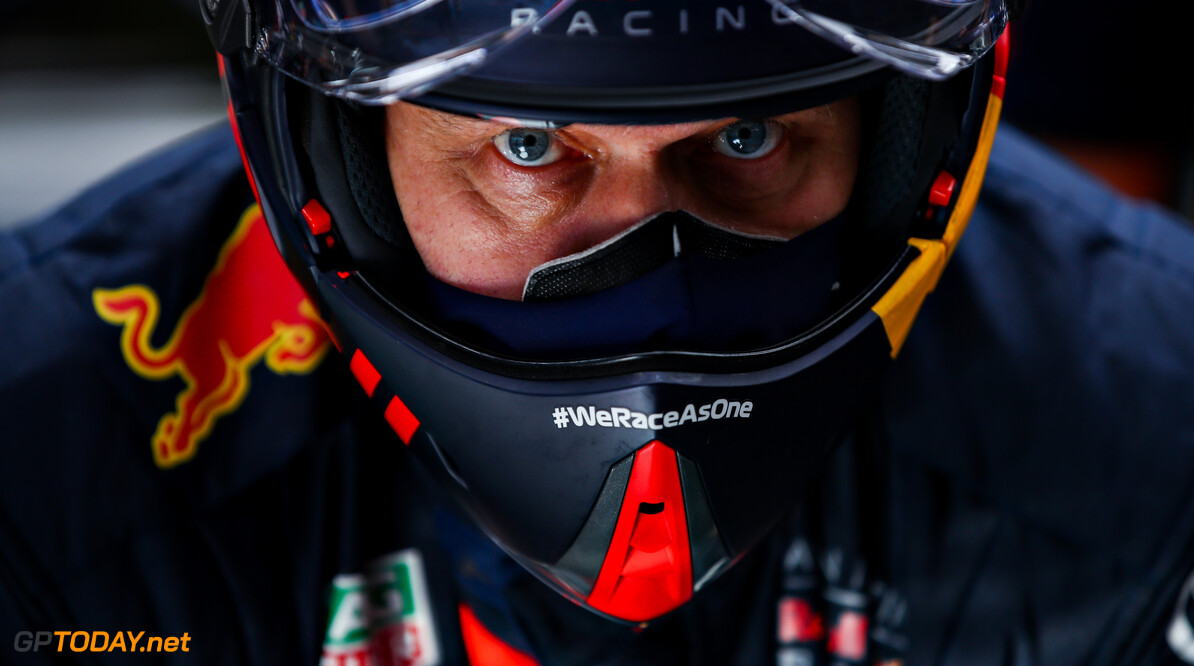 PORTIMAO, PORTUGAL - OCTOBER 23: A member of the Red Bull Racing team looks on in the garage during practice ahead of the F1 Grand Prix of Portugal at Autodromo Internacional do Algarve on October 23, 2020 in Portimao, Portugal. (Photo by Mark Thompson/Getty Images) // Getty Images / Red Bull Content Pool  // SI202010230351 // Usage for editorial use only //  F1 Grand Prix of Portugal - Practice     SI202010230351
