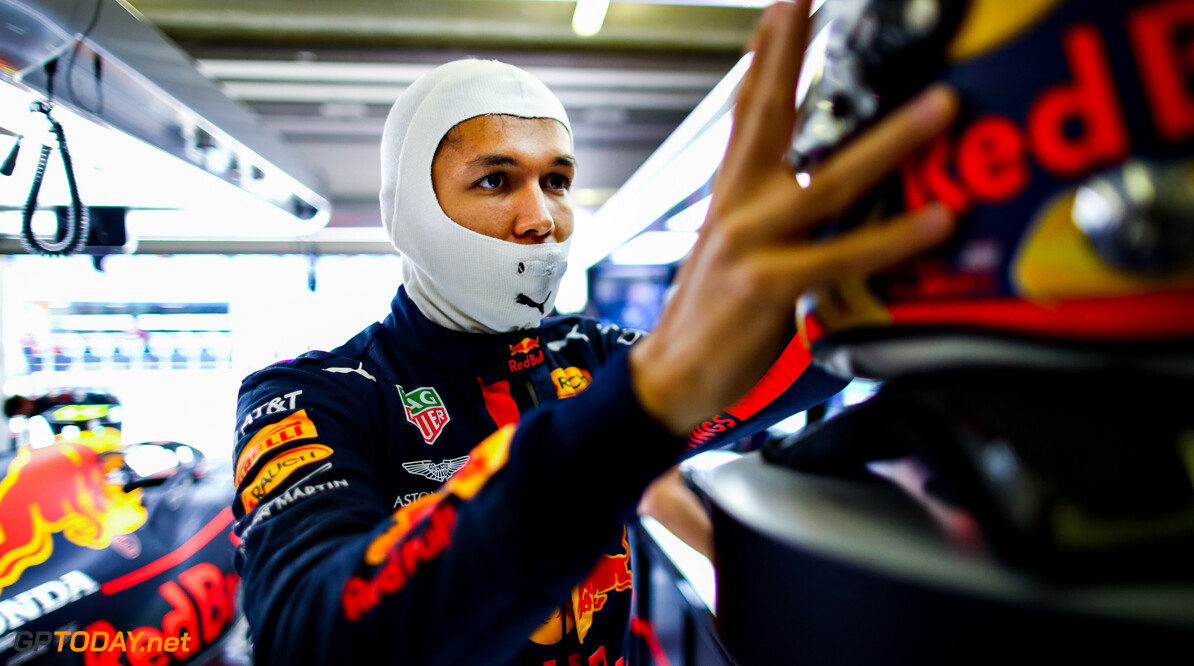 PORTIMAO, PORTUGAL - OCTOBER 24: Alexander Albon of Thailand and Red Bull Racing prepares to drive in the garage during qualifying ahead of the F1 Grand Prix of Portugal at Autodromo Internacional do Algarve on October 24, 2020 in Portimao, Portugal. (Photo by Mark Thompson/Getty Images) // Getty Images / Red Bull Content Pool  // SI202010240266 // Usage for editorial use only //  F1 Grand Prix of Portugal - Qualifying     SI202010240266