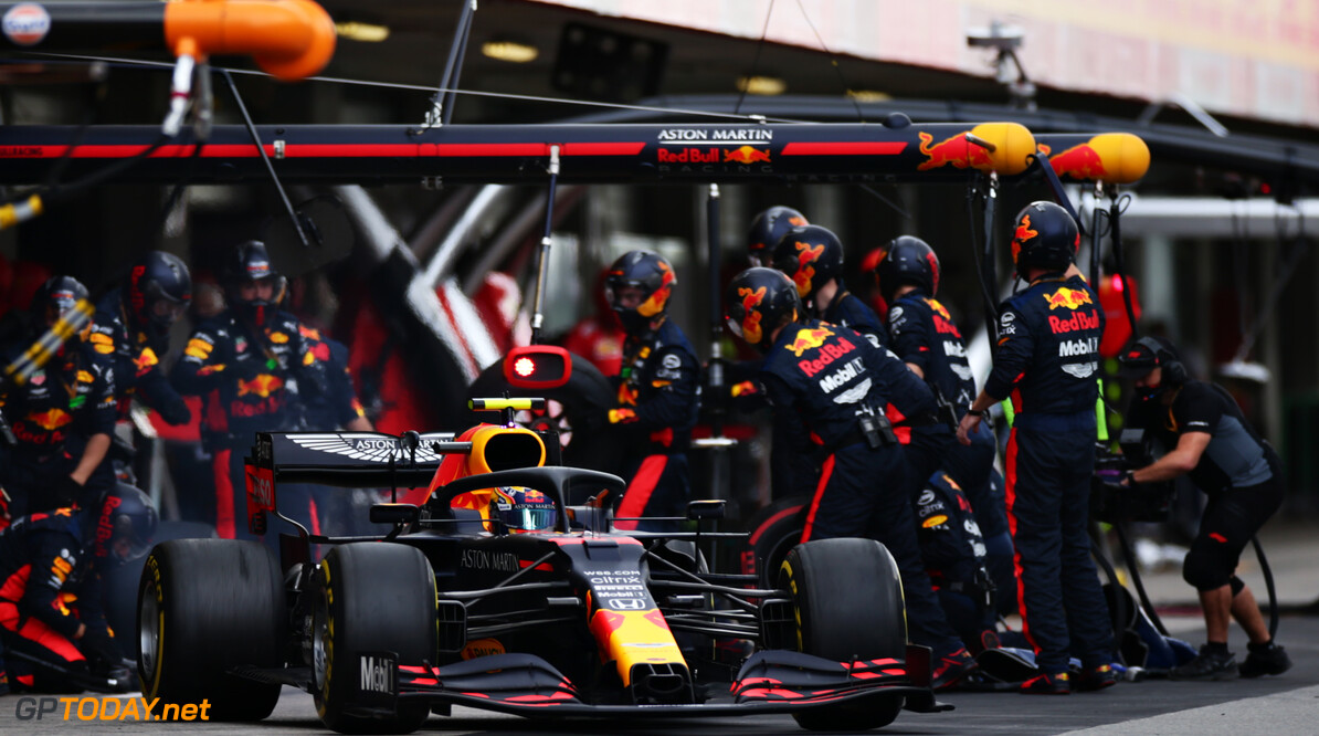 PORTIMAO, PORTUGAL - OCTOBER 25: Alexander Albon of Thailand driving the (23) Aston Martin Red Bull Racing RB16 makes a pitstop during the F1 Grand Prix of Portugal at Autodromo Internacional do Algarve on October 25, 2020 in Portimao, Portugal. (Photo by Peter Fox/Getty Images) // Getty Images / Red Bull Content Pool  // SI202010250157 // Usage for editorial use only //  F1 Grand Prix of Portugal     SI202010250157