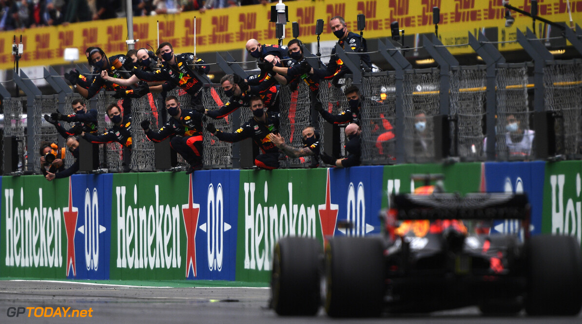 PORTIMAO, PORTUGAL - OCTOBER 25: The Red Bull Racing team celebrate on the pitwall as third placed Max Verstappen of the Netherlands driving the (33) Aston Martin Red Bull Racing RB16 passes during the F1 Grand Prix of Portugal at Autodromo Internacional do Algarve on October 25, 2020 in Portimao, Portugal. (Photo by Rudy Carezzevoli/Getty Images) // Getty Images / Red Bull Content Pool  // SI202010250442 // Usage for editorial use only //  F1 Grand Prix of Portugal     SI202010250442