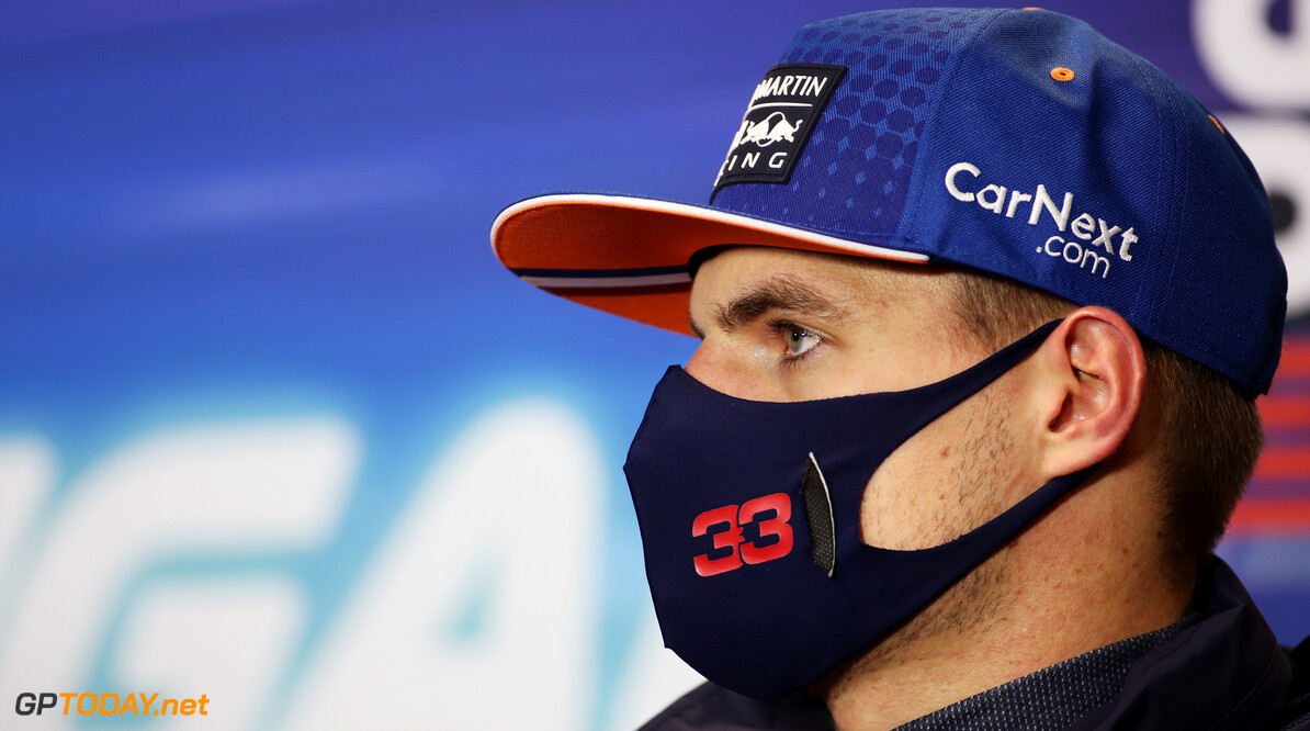 PORTIMAO, PORTUGAL - OCTOBER 25: Third placed Max Verstappen of Netherlands and Red Bull Racing talks in the Drivers Press Conference after the F1 Grand Prix of Portugal at Autodromo Internacional do Algarve on October 25, 2020 in Portimao, Portugal. (Photo by Laurent Charniaux - Pool/Getty Images) // Getty Images / Red Bull Content Pool  // SI202010250434 // Usage for editorial use only //  F1 Grand Prix of Portugal     SI202010250434