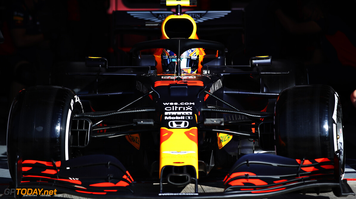 IMOLA, ITALY - OCTOBER 31: Alexander Albon of Thailand driving the (23) Aston Martin Red Bull Racing RB16 leaves the garage during practice ahead of the F1 Grand Prix of Emilia Romagna at Autodromo Enzo e Dino Ferrari on October 31, 2020 in Imola, Italy. (Photo by Mark Thompson/Getty Images) // Getty Images / Red Bull Content Pool  // SI202010310140 // Usage for editorial use only //  F1 Grand Prix of Emilia Romagna - Practice & Qualifying     SI202010310140