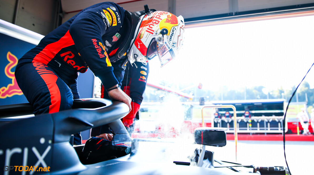 IMOLA, ITALY - OCTOBER 31: Max Verstappen of Netherlands and Red Bull Racing prepares to drive in the garage during practice ahead of the F1 Grand Prix of Emilia Romagna at Autodromo Enzo e Dino Ferrari on October 31, 2020 in Imola, Italy. (Photo by Mark Thompson/Getty Images) // Getty Images / Red Bull Content Pool  // SI202010310129 // Usage for editorial use only //  F1 Grand Prix of Emilia Romagna - Practice & Qualifying     SI202010310129