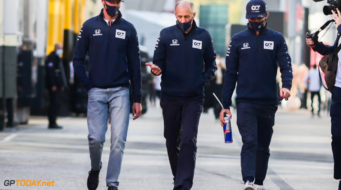 IMOLA, ITALY - OCTOBER 30: Daniil Kvyat of Scuderia AlphaTauri and Russia with Franz Tost of Scuderia AlphaTauri and Austria and Pierre Gasly of Scuderia AlphaTauri and France  during previews ahead of the F1 Grand Prix of Emilia Romagna at Autodromo Enzo e Dino Ferrari on October 30, 2020 in Imola, Italy. (Photo by Peter Fox/Getty Images) // Getty Images / Red Bull Content Pool  // SI202010300608 // Usage for editorial use only //  F1 Grand Prix of Emilia Romagna - Previews     SI202010300608