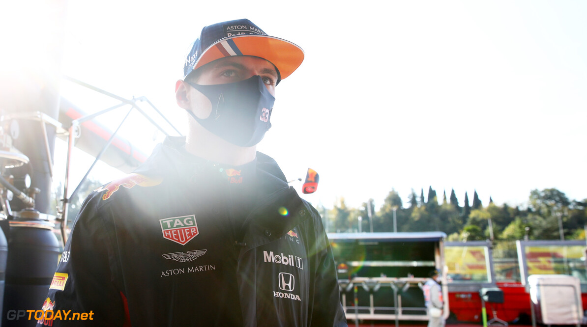 IMOLA, ITALY - OCTOBER 31: Max Verstappen of Netherlands and Red Bull Racing looks on in the garage before practice ahead of the F1 Grand Prix of Emilia Romagna at Autodromo Enzo e Dino Ferrari on October 31, 2020 in Imola, Italy. (Photo by Mark Thompson/Getty Images) // Getty Images / Red Bull Content Pool  // SI202010310135 // Usage for editorial use only //  F1 Grand Prix of Emilia Romagna - Practice & Qualifying     SI202010310135