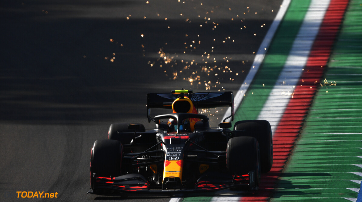 IMOLA, ITALY - OCTOBER 31: Alexander Albon of Thailand driving the (23) Aston Martin Red Bull Racing RB16 on track during practice ahead of the F1 Grand Prix of Emilia Romagna at Autodromo Enzo e Dino Ferrari on October 31, 2020 in Imola, Italy. (Photo by Rudy Carezzevoli/Getty Images) // Getty Images / Red Bull Content Pool  // SI202010310236 // Usage for editorial use only //  F1 Grand Prix of Emilia Romagna - Practice & Qualifying     SI202010310236