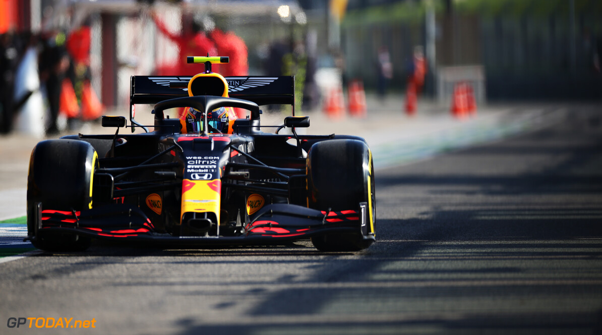 IMOLA, ITALY - OCTOBER 31: Alexander Albon of Thailand driving the (23) Aston Martin Red Bull Racing RB16 in the Pitlane during practice ahead of the F1 Grand Prix of Emilia Romagna at Autodromo Enzo e Dino Ferrari on October 31, 2020 in Imola, Italy. (Photo by Peter Fox/Getty Images) // Getty Images / Red Bull Content Pool  // SI202010310184 // Usage for editorial use only //  F1 Grand Prix of Emilia Romagna - Practice & Qualifying     SI202010310184