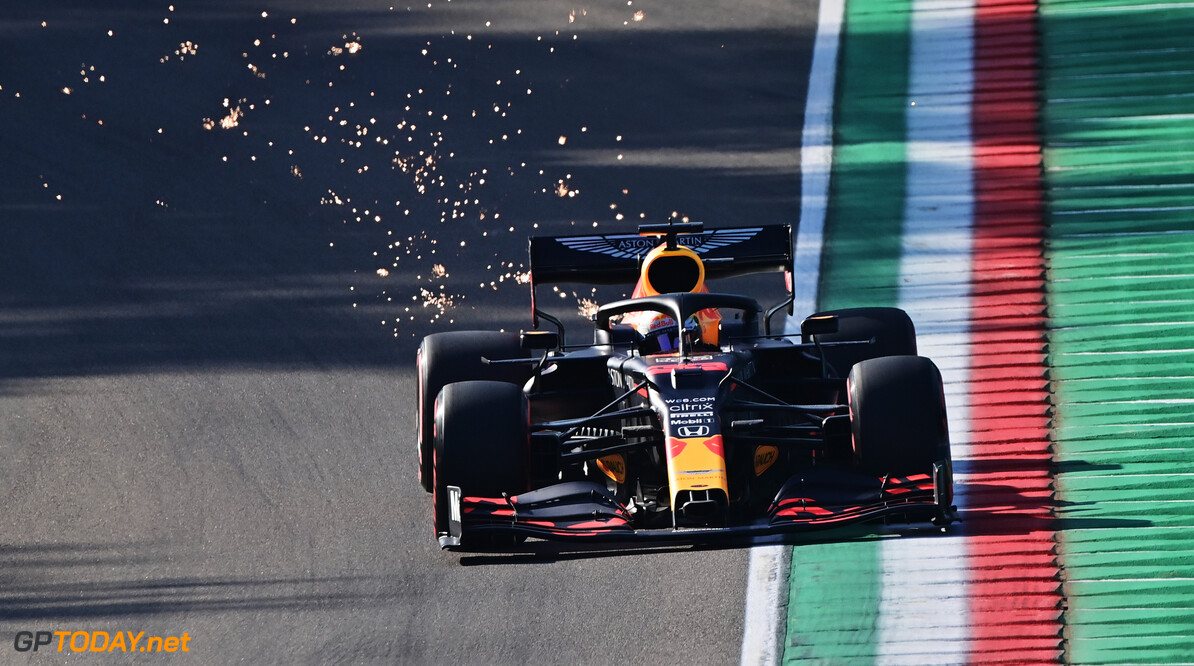 IMOLA, ITALY - OCTOBER 31: Max Verstappen of the Netherlands driving the (33) Aston Martin Red Bull Racing RB16 on track during practice ahead of the F1 Grand Prix of Emilia Romagna at Autodromo Enzo e Dino Ferrari on October 31, 2020 in Imola, Italy. (Photo by Miguel Medina - Pool/Getty Images) // Getty Images / Red Bull Content Pool  // SI202010310203 // Usage for editorial use only //  F1 Grand Prix of Emilia Romagna - Practice & Qualifying     SI202010310203