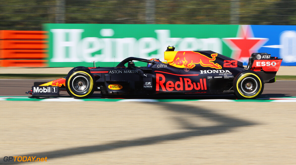 IMOLA, ITALY - OCTOBER 31: Alexander Albon of Thailand driving the (23) Aston Martin Red Bull Racing RB16 on track during practice ahead of the F1 Grand Prix of Emilia Romagna at Autodromo Enzo e Dino Ferrari on October 31, 2020 in Imola, Italy. (Photo by Davide Gennari - Pool/Getty Images) // Getty Images / Red Bull Content Pool  // SI202010310215 // Usage for editorial use only //  F1 Grand Prix of Emilia Romagna - Practice & Qualifying     SI202010310215