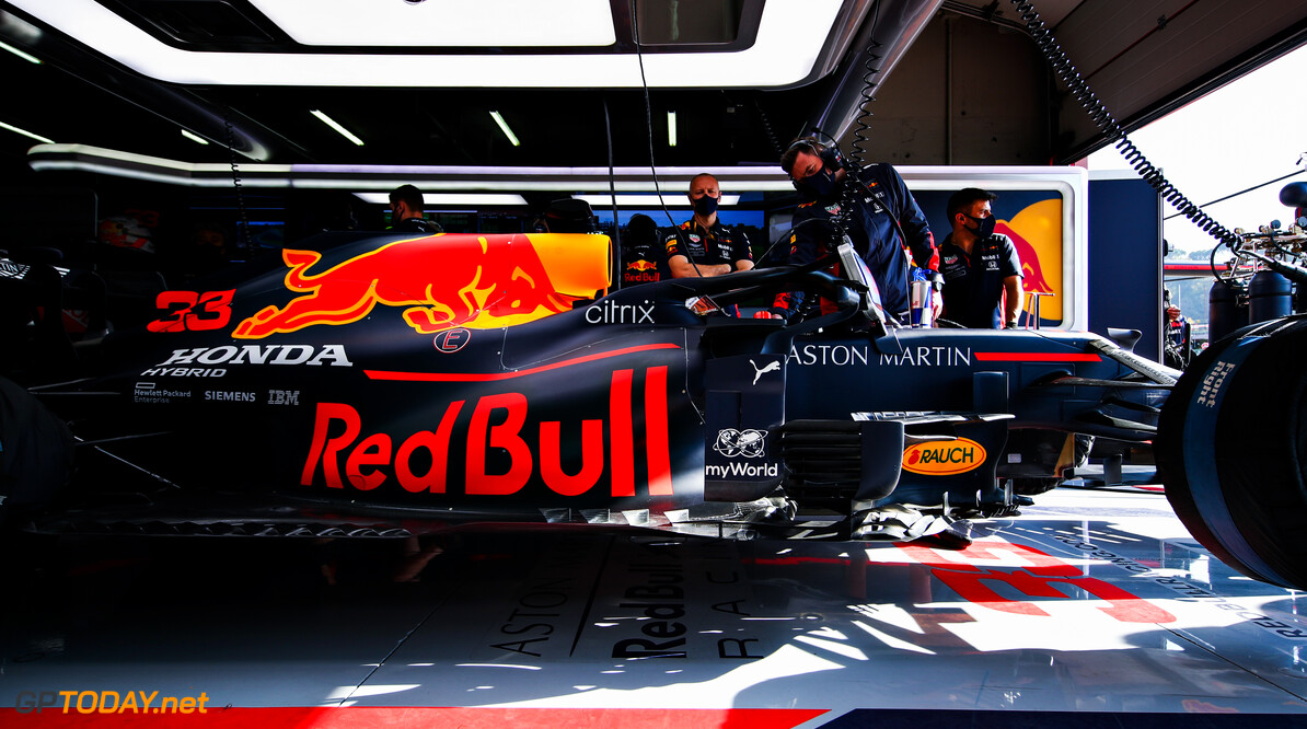 IMOLA, ITALY - OCTOBER 31: Max Verstappen of Netherlands and Red Bull Racing prepares to drive in the garage during practice ahead of the F1 Grand Prix of Emilia Romagna at Autodromo Enzo e Dino Ferrari on October 31, 2020 in Imola, Italy. (Photo by Mark Thompson/Getty Images) // Getty Images / Red Bull Content Pool  // SI202010310250 // Usage for editorial use only //  F1 Grand Prix of Emilia Romagna - Practice & Qualifying     SI202010310250