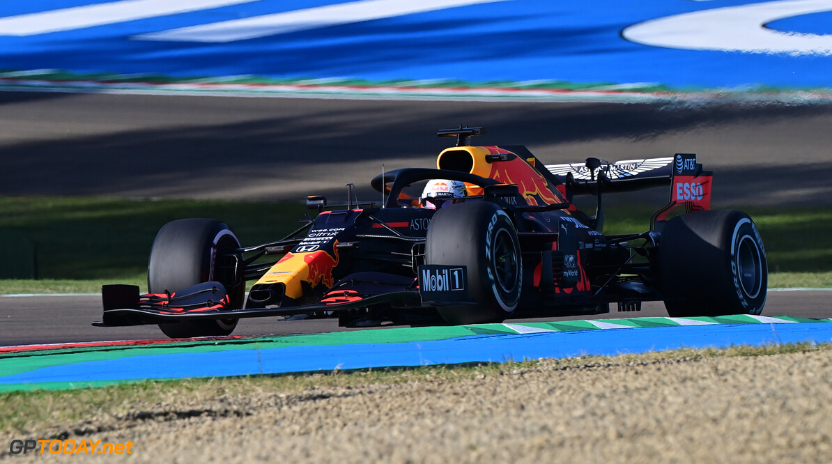 IMOLA, ITALY - OCTOBER 31: Max Verstappen of the Netherlands driving the (33) Aston Martin Red Bull Racing RB16 on track during practice ahead of the F1 Grand Prix of Emilia Romagna at Autodromo Enzo e Dino Ferrari on October 31, 2020 in Imola, Italy. (Photo by Miguel Medina - Pool/Getty Images) // Getty Images / Red Bull Content Pool  // SI202010310180 // Usage for editorial use only //  F1 Grand Prix of Emilia Romagna - Practice & Qualifying     SI202010310180
