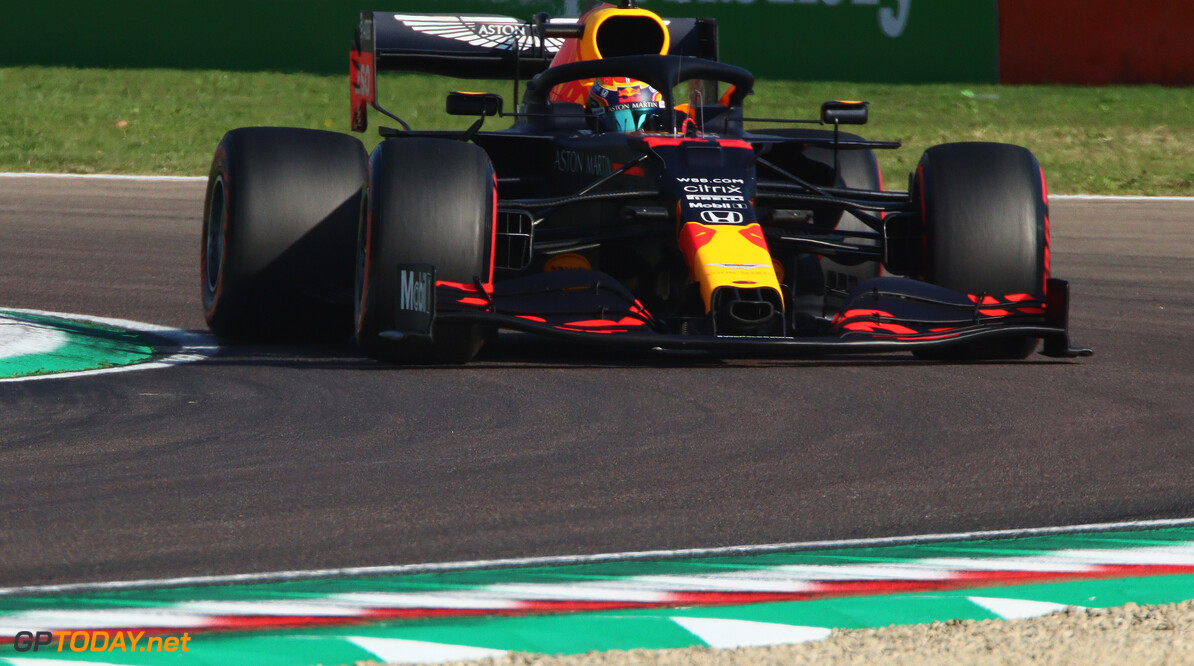 IMOLA, ITALY - OCTOBER 31: Alexander Albon of Thailand driving the (23) Aston Martin Red Bull Racing RB16 on track during practice ahead of the F1 Grand Prix of Emilia Romagna at Autodromo Enzo e Dino Ferrari on October 31, 2020 in Imola, Italy. (Photo by Davide Gennari - Pool/Getty Images) // Getty Images / Red Bull Content Pool  // SI202010310267 // Usage for editorial use only //  F1 Grand Prix of Emilia Romagna - Practice & Qualifying     SI202010310267