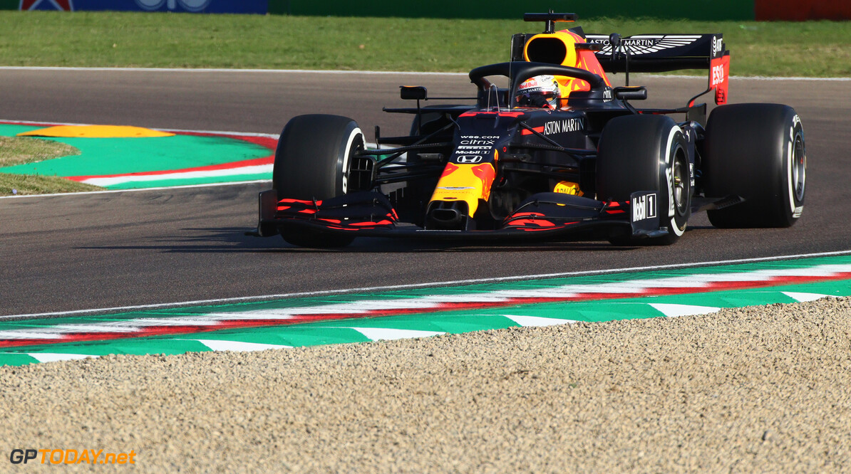 IMOLA, ITALY - OCTOBER 31: Max Verstappen of the Netherlands driving the (33) Aston Martin Red Bull Racing RB16 on track during practice ahead of the F1 Grand Prix of Emilia Romagna at Autodromo Enzo e Dino Ferrari on October 31, 2020 in Imola, Italy. (Photo by Davide Gennari - Pool/Getty Images) // Getty Images / Red Bull Content Pool  // SI202010310269 // Usage for editorial use only //  F1 Grand Prix of Emilia Romagna - Practice & Qualifying     SI202010310269