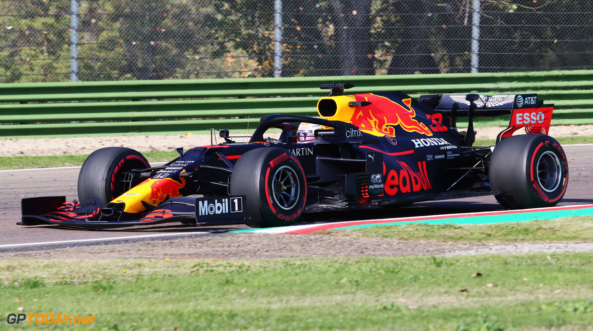 IMOLA, ITALY - OCTOBER 31: Max Verstappen of the Netherlands driving the (33) Aston Martin Red Bull Racing RB16 on track during practice ahead of the F1 Grand Prix of Emilia Romagna at Autodromo Enzo e Dino Ferrari on October 31, 2020 in Imola, Italy. (Photo by Davide Gennari - Pool/Getty Images) // Getty Images / Red Bull Content Pool  // SI202010310272 // Usage for editorial use only //  F1 Grand Prix of Emilia Romagna - Practice & Qualifying     SI202010310272