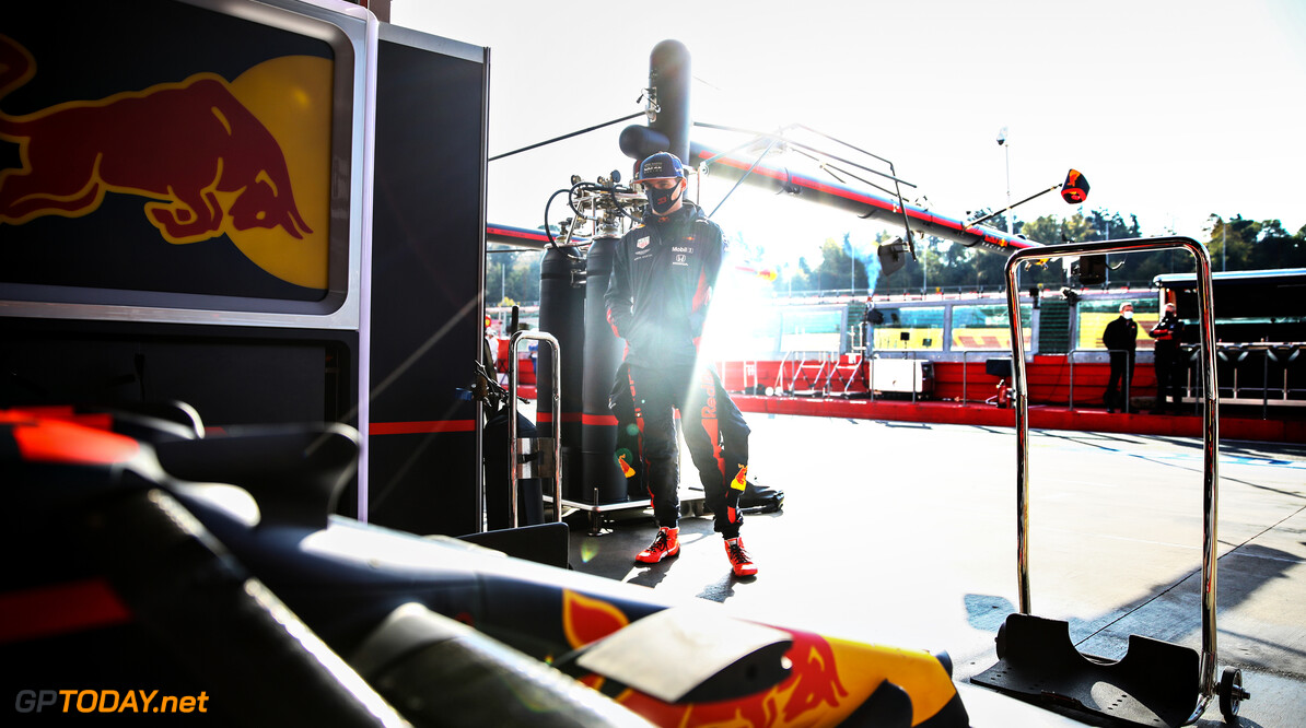 IMOLA, ITALY - OCTOBER 31: Max Verstappen of Netherlands and Red Bull Racing looks on in the garage before practice ahead of the F1 Grand Prix of Emilia Romagna at Autodromo Enzo e Dino Ferrari on October 31, 2020 in Imola, Italy. (Photo by Mark Thompson/Getty Images) // Getty Images / Red Bull Content Pool  // SI202010310342 // Usage for editorial use only //  F1 Grand Prix of Emilia Romagna - Practice & Qualifying     SI202010310342