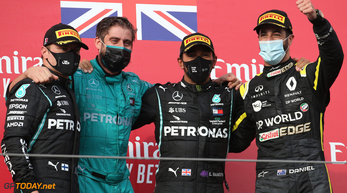 Formula One World Championship 1st place Lewis Hamilton (GBR) Mercedes AMG F1 W11, 2nd Valtteri Bottas (FIN) Mercedes AMG F1 W11 and 3rd place Daniel Ricciardo (AUS) Renault F1 Team RS20. 01.11.2020. Formula 1 World Championship, Rd 13, Emilia Romagna Grand Prix, Imola, Italy, Race Day. - www.xpbimages.com, EMail: requests@xpbimages.com (C) Copyright: Batchelor / XPB Images Motor Racing - Formula One World Championship - Emilia Romagna Grand Prix - Race Day - Imola, Italy XPB Images Imola Italy  Formel1 Formel F1 Formula 1 Formula1 GP Grand Prix one Italy Emilia Romagna Emilia-Romagna Imola Dell'emilia Romagna Autodromo Gran Premio Sunday November 01 1 11 2020 Podium Portrait