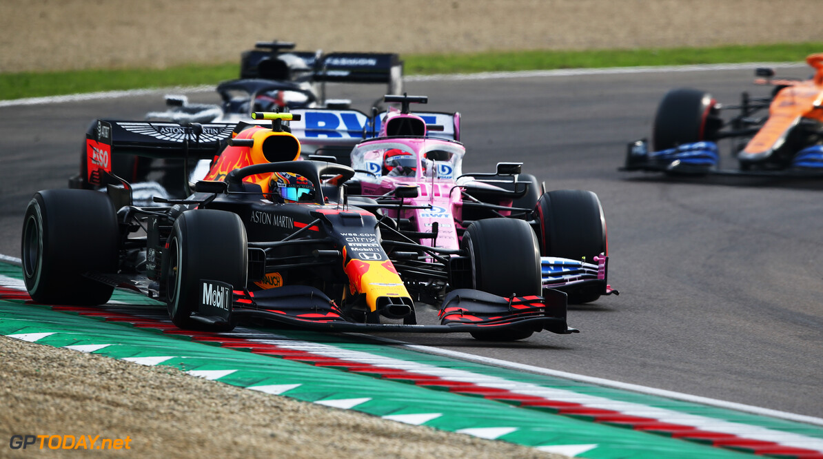 IMOLA, ITALY - NOVEMBER 01: Alexander Albon of Thailand driving the (23) Aston Martin Red Bull Racing RB16 leads a line of cars during the F1 Grand Prix of Emilia Romagna at Autodromo Enzo e Dino Ferrari on November 01, 2020 in Imola, Italy. (Photo by Joe Portlock/Getty Images) // Getty Images / Red Bull Content Pool  // SI202011010157 // Usage for editorial use only //  F1 Grand Prix of Emilia Romagna     SI202011010157