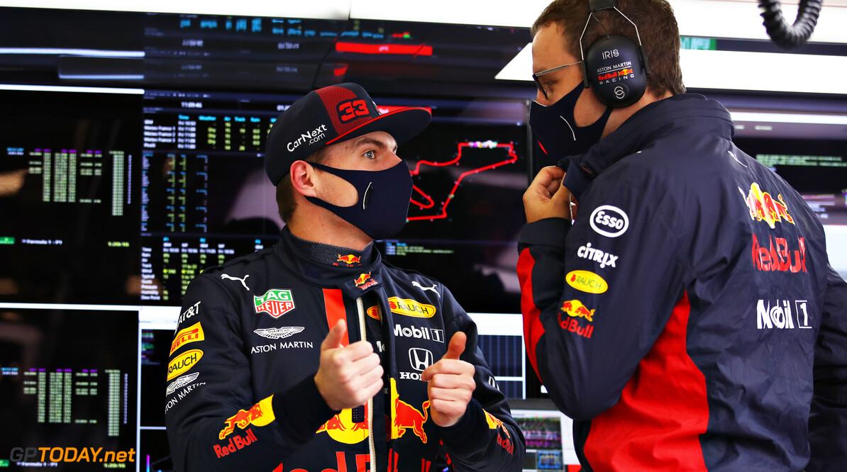 ISTANBUL, TURKEY - NOVEMBER 13: Max Verstappen of Netherlands and Red Bull Racing talks with a Red Bull Racing engineer in the garage during practice ahead of the F1 Grand Prix of Turkey at Intercity Istanbul Park on November 13, 2020 in Istanbul, Turkey. (Photo by Bryn Lennon/Getty Images) // Getty Images / Red Bull Content Pool  // SI202011130087 // Usage for editorial use only //  F1 Grand Prix of Turkey - Practice     SI202011130087