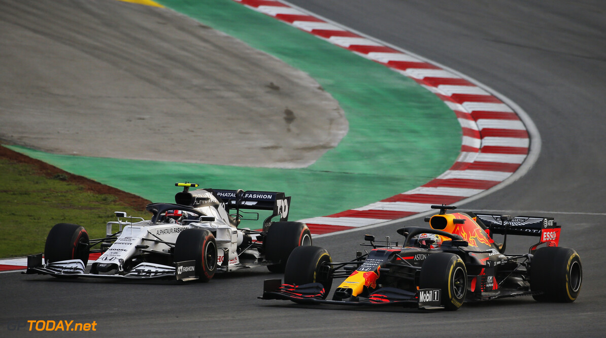 ISTANBUL, TURKEY - NOVEMBER 13: Max Verstappen of the Netherlands driving the (33) Aston Martin Red Bull Racing RB16 and Pierre Gasly of France driving the (10) Scuderia AlphaTauri AT01 Honda during practice ahead of the F1 Grand Prix of Turkey at Intercity Istanbul Park on November 13, 2020 in Istanbul, Turkey. (Photo by Kenan Asyali-Pool/Getty Images) // Getty Images / Red Bull Content Pool  // SI202011130460 // Usage for editorial use only //  F1 Grand Prix of Turkey - Practice     SI202011130460