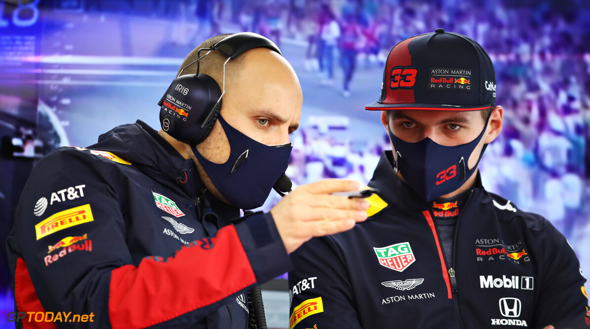 ISTANBUL, TURKEY - NOVEMBER 13: Max Verstappen of Netherlands and Red Bull Racing and race engineer Gianpiero Lambiase talk in the garage during practice ahead of the F1 Grand Prix of Turkey at Intercity Istanbul Park on November 13, 2020 in Istanbul, Turkey. (Photo by Bryn Lennon/Getty Images) // Getty Images / Red Bull Content Pool  // SI202011130360 // Usage for editorial use only //  F1 Grand Prix of Turkey - Practice     SI202011130360