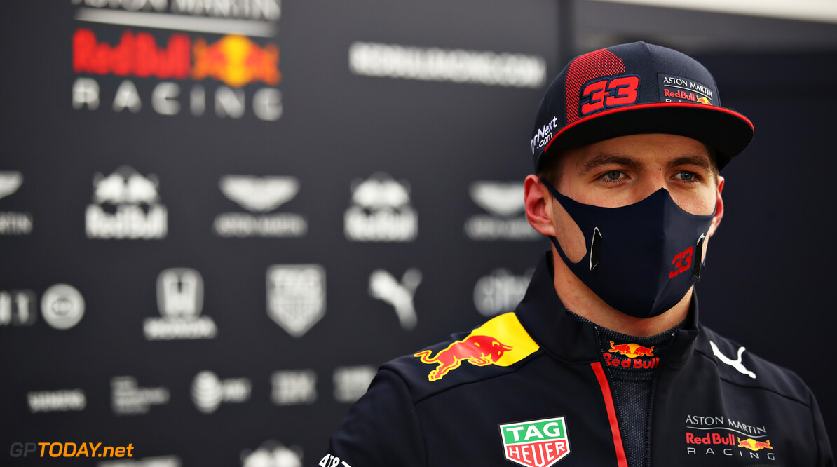 ISTANBUL, TURKEY - NOVEMBER 13: Max Verstappen of Netherlands and Red Bull Racing talks to the media in the Paddock after practice ahead of the F1 Grand Prix of Turkey at Intercity Istanbul Park on November 13, 2020 in Istanbul, Turkey. (Photo by Bryn Lennon/Getty Images) // Getty Images / Red Bull Content Pool  // SI202011130421 // Usage for editorial use only //  F1 Grand Prix of Turkey - Practice     SI202011130421