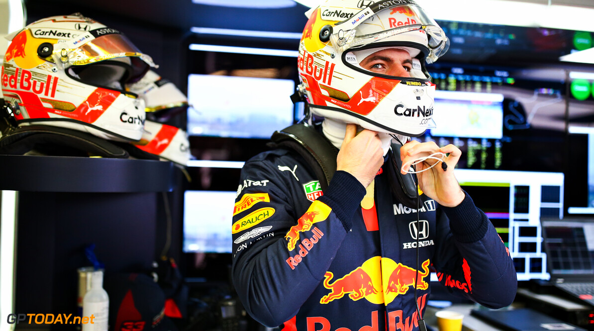 ISTANBUL, TURKEY - NOVEMBER 14: Max Verstappen of Netherlands and Red Bull Racing prepares to drive in the garage during final practice ahead of the F1 Grand Prix of Turkey at Intercity Istanbul Park on November 14, 2020 in Istanbul, Turkey. (Photo by Bryn Lennon/Getty Images) // Getty Images / Red Bull Content Pool  // SI202011140046 // Usage for editorial use only //  F1 Grand Prix of Turkey - Final Practice     SI202011140046