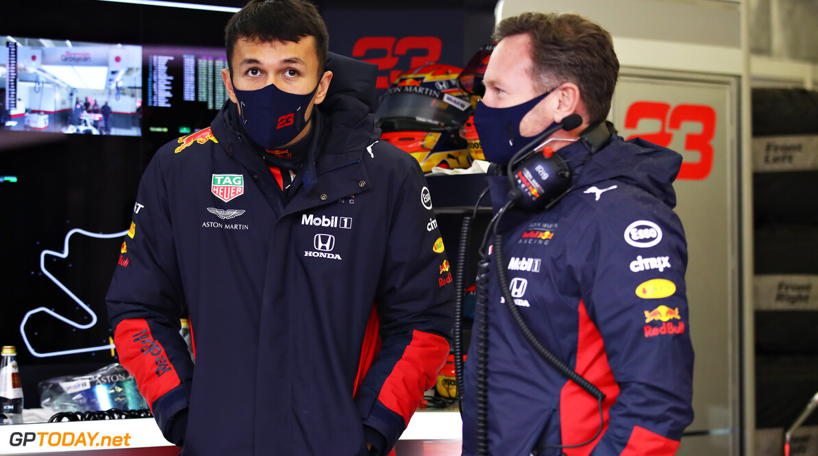 ISTANBUL, TURKEY - NOVEMBER 14: Alexander Albon of Thailand and Red Bull Racing and Red Bull Racing Team Principal Christian Horner talk in the garage during final practice ahead of the F1 Grand Prix of Turkey at Intercity Istanbul Park on November 14, 2020 in Istanbul, Turkey. (Photo by Bryn Lennon/Getty Images) // Getty Images / Red Bull Content Pool  // SI202011140108 // Usage for editorial use only //  F1 Grand Prix of Turkey - Final Practice     SI202011140108