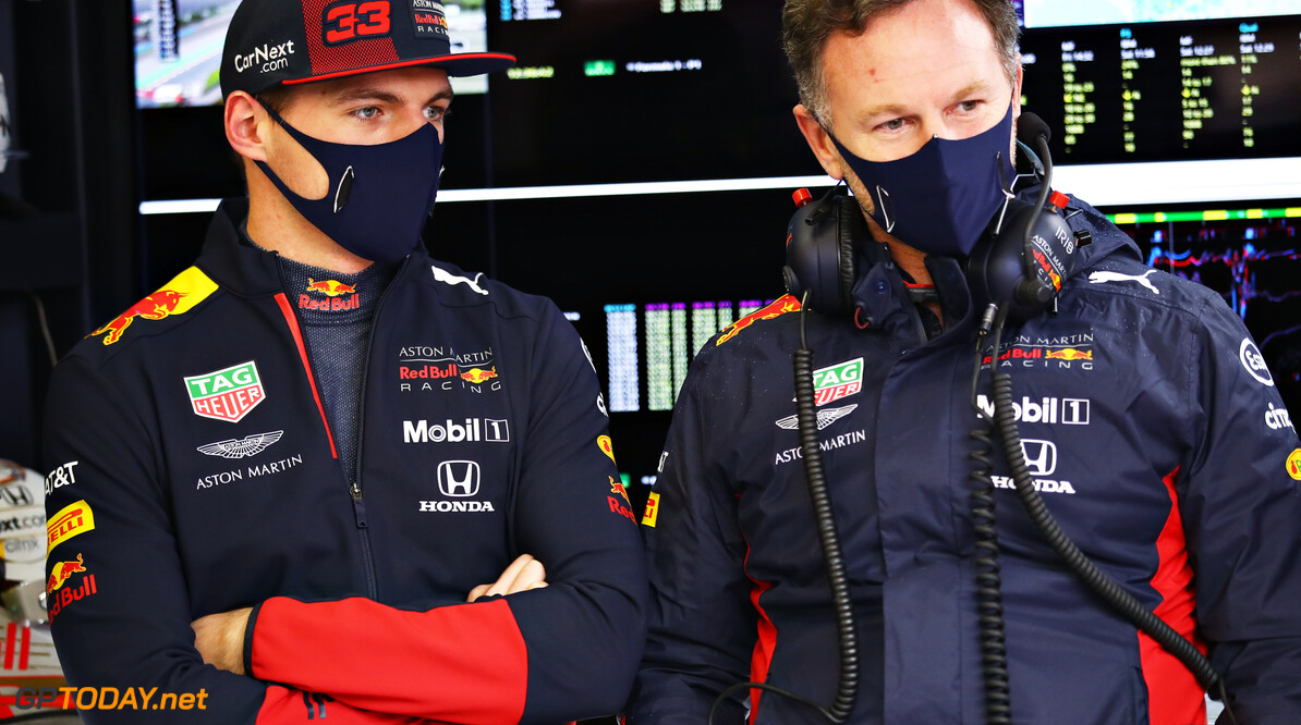 ISTANBUL, TURKEY - NOVEMBER 14: Max Verstappen of Netherlands and Red Bull Racing and Red Bull Racing Team Principal Christian Horner talk in the garage during final practice ahead of the F1 Grand Prix of Turkey at Intercity Istanbul Park on November 14, 2020 in Istanbul, Turkey. (Photo by Bryn Lennon/Getty Images) // Getty Images / Red Bull Content Pool  // SI202011140102 // Usage for editorial use only //  F1 Grand Prix of Turkey - Final Practice     SI202011140102