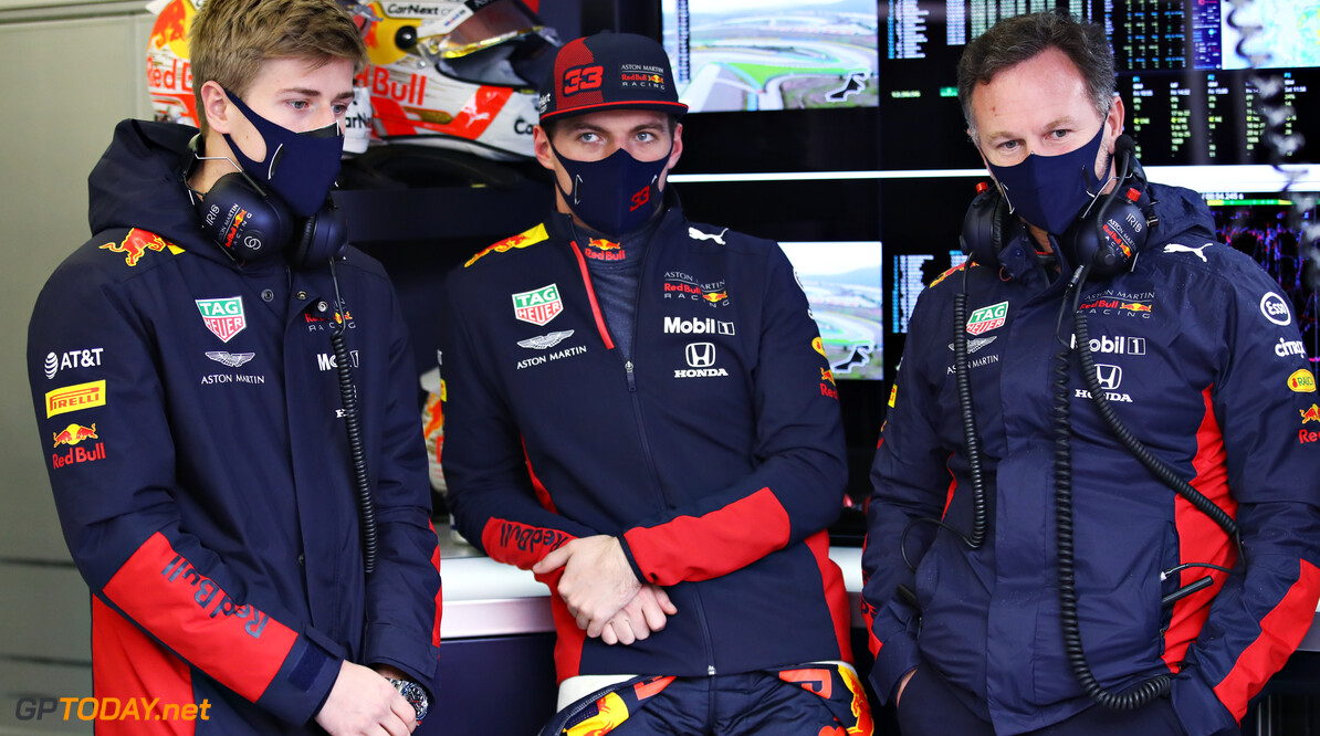 ISTANBUL, TURKEY - NOVEMBER 14: Max Verstappen of Netherlands and Red Bull Racing, Juri Vips of Estonia and Red Bull Racing and Red Bull Racing Team Principal Christian Horner talk in the garage during final practice ahead of the F1 Grand Prix of Turkey at Intercity Istanbul Park on November 14, 2020 in Istanbul, Turkey. (Photo by Bryn Lennon/Getty Images) // Getty Images / Red Bull Content Pool  // SI202011140111 // Usage for editorial use only //  F1 Grand Prix of Turkey - Final Practice     SI202011140111