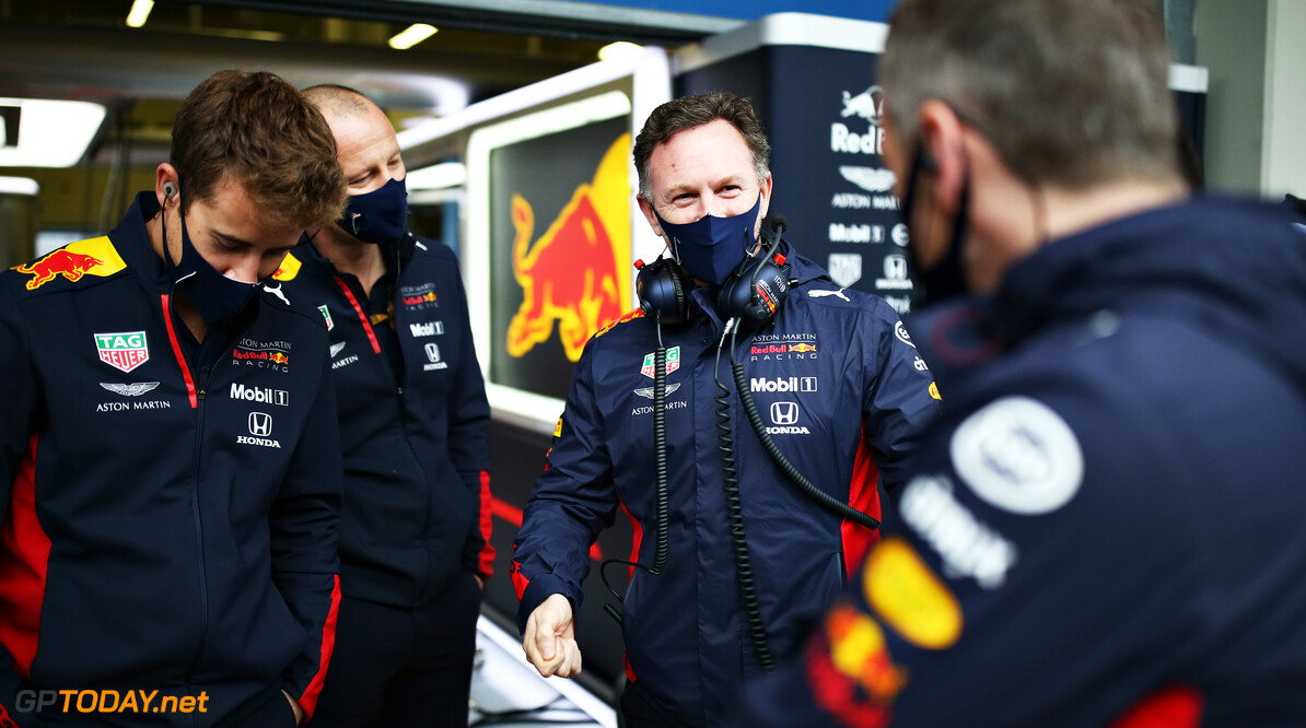 ISTANBUL, TURKEY - NOVEMBER 14: Red Bull Racing Team Principal Christian Horner talks with members of the Red Bull Racing team during final practice ahead of the F1 Grand Prix of Turkey at Intercity Istanbul Park on November 14, 2020 in Istanbul, Turkey. (Photo by Bryn Lennon/Getty Images) // Getty Images / Red Bull Content Pool  // SI202011140119 // Usage for editorial use only //  F1 Grand Prix of Turkey - Final Practice     SI202011140119