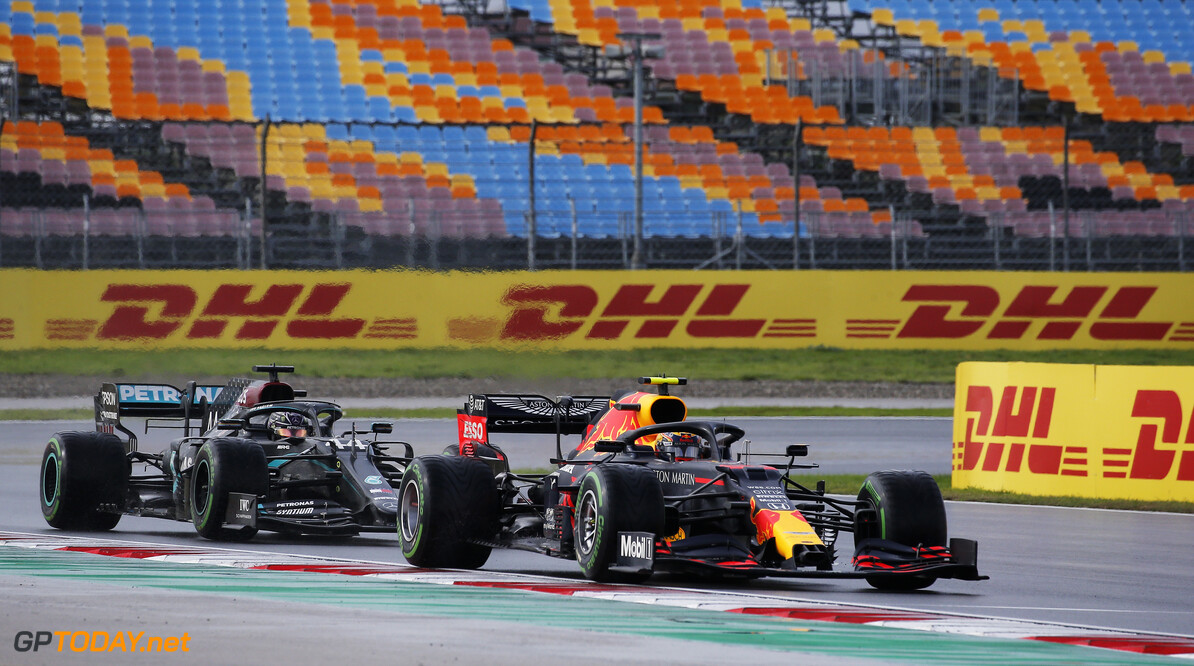 ISTANBUL, TURKEY - NOVEMBER 15: Alexander Albon of Thailand driving the (23) Aston Martin Red Bull Racing RB16 leads Lewis Hamilton of Great Britain driving the (44) Mercedes AMG Petronas F1 Team Mercedes W11 on track during the F1 Grand Prix of Turkey at Intercity Istanbul Park on November 15, 2020 in Istanbul, Turkey. (Photo by Kenan Asyali - Pool/Getty Images) // Getty Images / Red Bull Content Pool  // SI202011150127 // Usage for editorial use only //  F1 Grand Prix of Turkey     SI202011150127