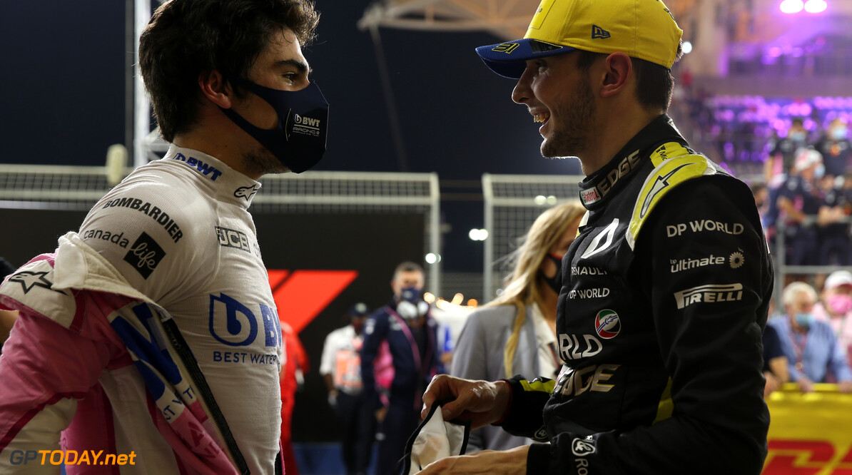 Formula One World Championship 3rd place Lance Stroll (CDN) Racing Point F1 Team RP20 and 2nd place Esteban Ocon (FRA) Renault F1 Team RS20. 06.12.2020. Formula 1 World Championship, Rd 16, Sakhir Grand Prix, Sakhir, Bahrain, Race Day. - www.xpbimages.com, EMail: requests@xpbimages.com (C) Copyright: Batchelor / XPB Images Motor Racing - Formula One World Championship - Sakhir Grand Prix - Race Day - Sakhir, Bahrain xpbimages.com Sakhir Bahrain  Formel1 Formel F1 Formula 1 Formula1 GP Grand Prix one Bahrain International Circuit BIC Manama Bahrain Sakhir Sunday December 06 6 12 2020 Podium Portrait