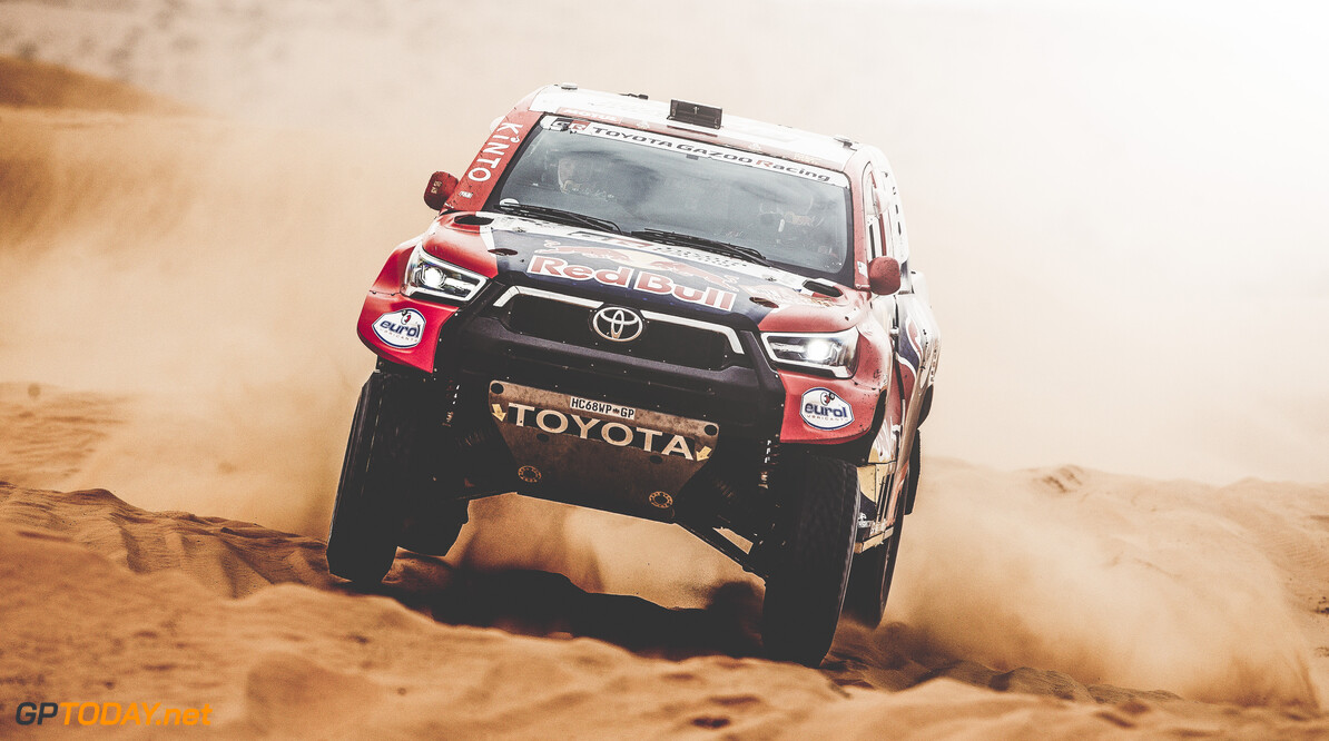 Nasser Al-Attiyah (QAT) for Toyota Gazoo Racing Team races during stage 5 of Rally Dakar 2021 from Riyadh to Buraydah, Saudi Arabia on January 07, 2021. // Flavien Duhamel/Red Bull Content Pool // SI202101070145 // Usage for editorial use only //  Nasser Al-Attiyah     SI202101070145