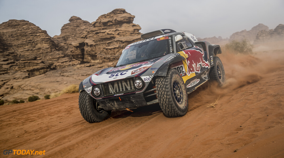 Stephane Peterhansel and Edouard Boulanger in the Mini Buggy of the X-Raid Mini JCW Team races during the 10th stage of the Dakar 2021 between Neom and Al-?Ula, in Saudi Arabia on January 13, 2021. // Flavien Duhamel/Red Bull Content Pool // SI202101130107 // Usage for editorial use only //  Stephane Peterhansel, Edouard Boulanger     SI202101130107
