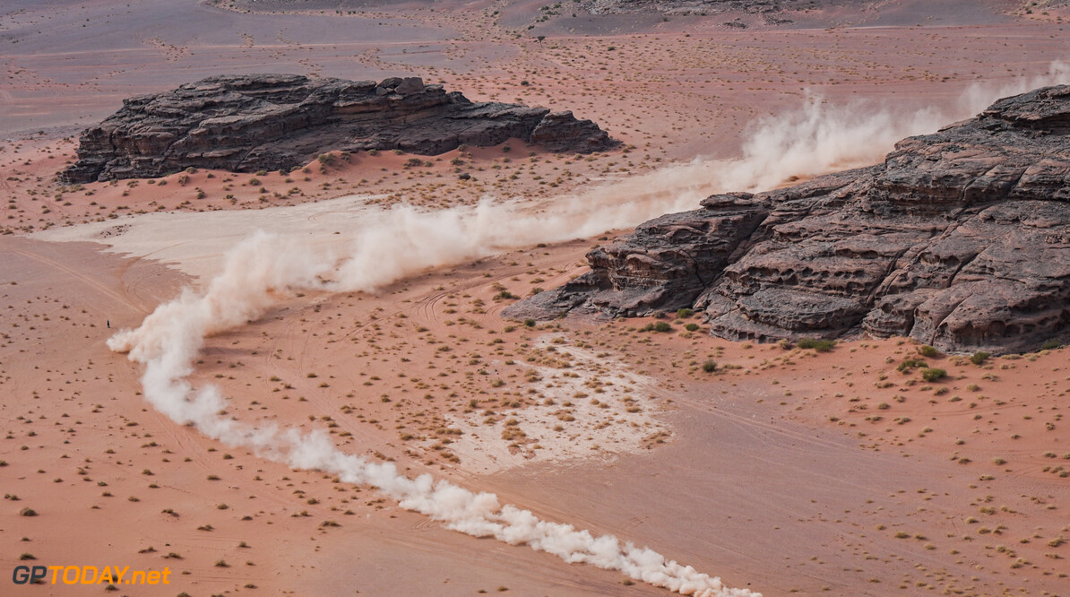Jakub Przygonski and Timo Gottschalk in the Toyota Hilux of the Overdrive Toyota Team races during the 10th stage of the Dakar 2021 between Neom and Al-?Ula, in Saudi Arabia on January 13, 2021. // Eric Vargiolu / DPPI / Red Bull Content Pool // SI202101130150 // Usage for editorial use only //  Jakub Przygonski, Timo Gottschalk     SI202101130150