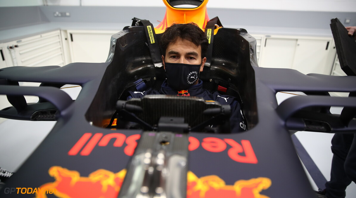 MILTON KEYNES, ENGLAND - JANUARY 12: Sergio Perez of Mexico and Red Bull Racing has a seat fitting at Red Bull Racing Factory on January 12, 2021 in Milton Keynes, England. (Photo by Mark Thompson/Getty Images) // Getty Images / Red Bull Content Pool  // SI202101200082 // Usage for editorial use only //  Sergio Perez Visits Red Bull Racing Factory     SI202101200082