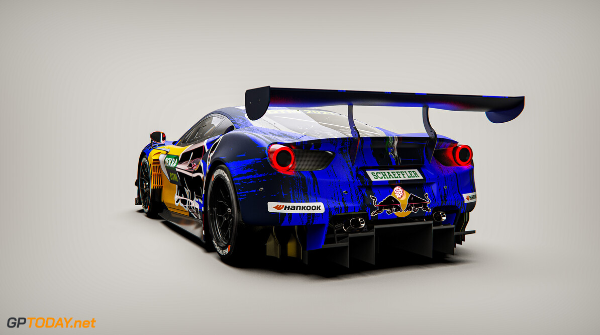 Graphic rendering of the Ferrari 488 GT3 Evo 2020 to be driven by Liam Lawson in the 2021 DTM series. // Red Bull Media House // SI202102020011 // Usage for editorial use only //  Red Bull Car Livery     SI202102020011