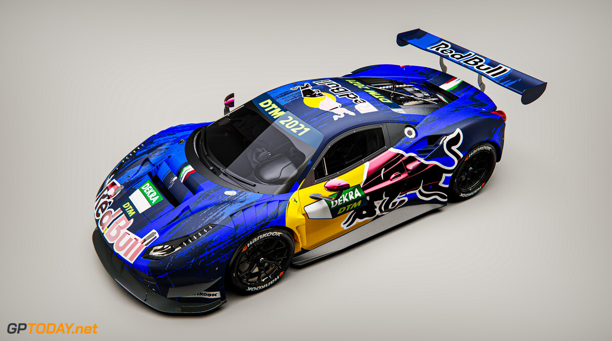 Graphic rendering of the Ferrari 488 GT3 Evo 2020 to be driven by Liam Lawson in the 2021 DTM series. // Red Bull Media House // SI202102020012 // Usage for editorial use only //  Red Bull Car Livery     SI202102020012