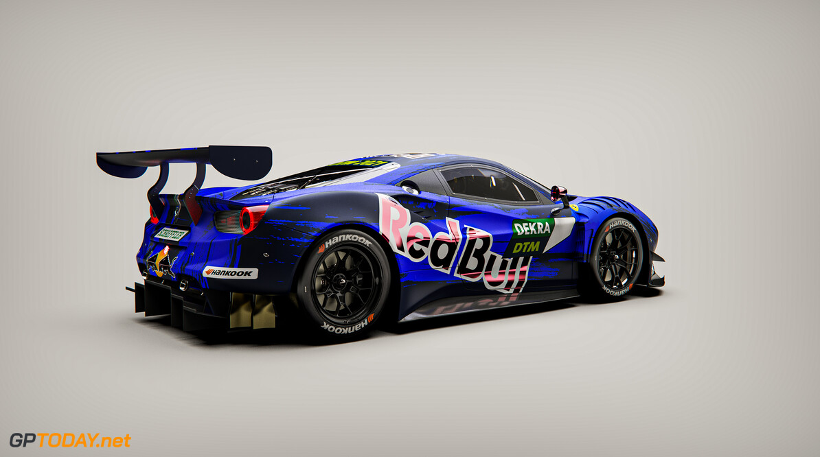 Graphic rendering of the Ferrari 488 GT3 Evo 2020 to be driven by Liam Lawson in the 2021 DTM series. // Red Bull Media House // SI202102020009 // Usage for editorial use only //  Red Bull Car Livery     SI202102020009